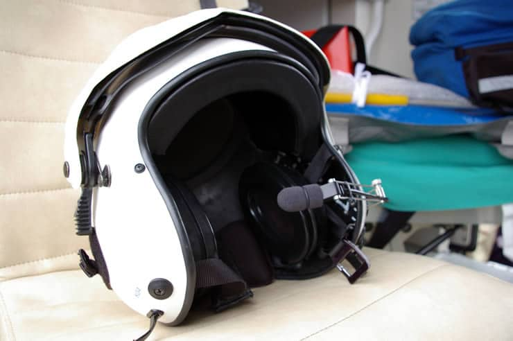 Air ambulance night flying helmet, provided by Lions Clubs from the south-east